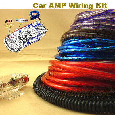 NEW Car Audio Subwoofer Sub Amplifier AMP RCA Wiring Kit Power Cable 1200W