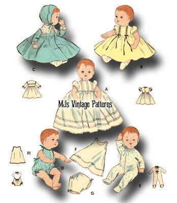 """Vintage Baby Doll Clothes Pattern ~ 11"""" Tiny Tears, Betsy Wetsy, Dy Dee"""