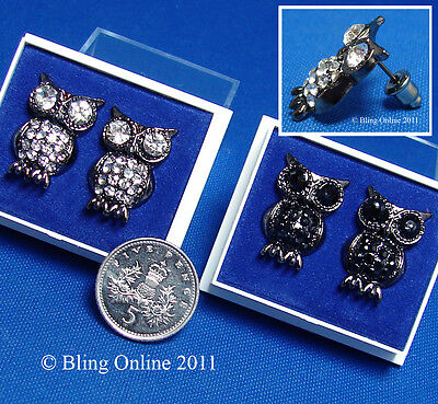 Pair Of Diamante Crystal Wise Owl Earrings Ear Studs With Clear Or Black Stones