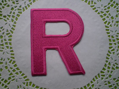 **NEW 100% EMBROIDERY IRON ON LARGE LETTER ALPHABET MOTIF PATCH PINK BLUE 11x8cm