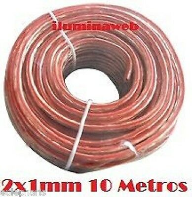 CABLE DE AUDIO / ALTAVOZ TRANSPARENTE 2x1.0mm - 10 Metros