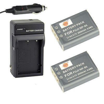 DSTE 2x NP-95 Battery + DC29 charger for Fujifilm FinePix F30 Real 3D W1 X100