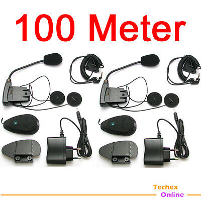 2 x 100 Meter Bluetooth Intercom Motorcycle Headset Interphone MP3 iPod FM RADIO