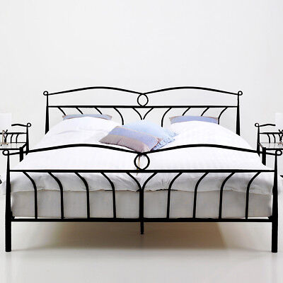 metallbett bett 180 x 200 cm schwarz woody 169 00362 eur. Black Bedroom Furniture Sets. Home Design Ideas