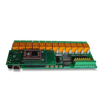 Ethernet 12 Way Relay Output and 16 Inputs Module Board, Serial RS232 Controlled