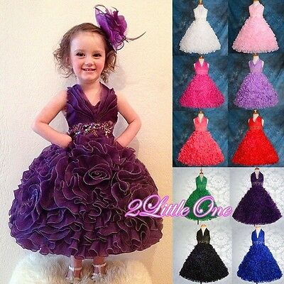 Beaded Embossed Flower Girl Dresses Wedding Bridesmaid Party Kid Size 3-9 FG160