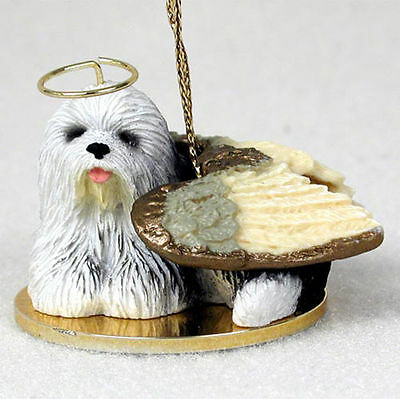 Old English Sheepdog Figurine Ornament Angel Statue Hand Painted