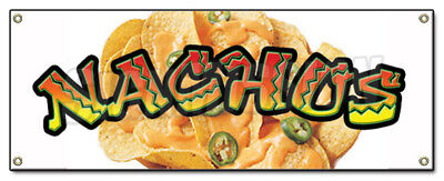 NACHOS BANNER SIGN cheese chips cart stand signs Mexican food taco burrito