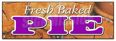 "72"" FRESH BAKED PIE BANNER SIGN pies bakery slice fruit warm baker warm dessert"