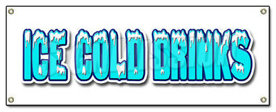 ICE COLD DRINKS BANNER SIGN drink stand beer iced cola lemonade soda water