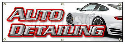 """72"""" AUTO DETAILING BANNER SIGN car wash wax signs carwash detail automobile"""