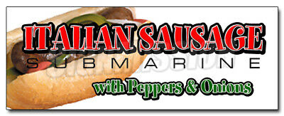 """24"""" ITALIAN SAUSAGE SUB DECAL sticker hero peppers supplies stand trailer"""