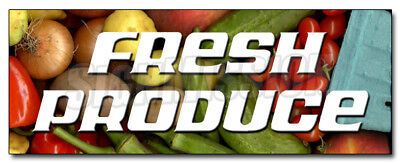 """24"""" FRESH PRODUCE DECAL sticker stand farmers market retail storefront marketing"""