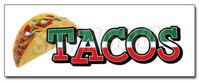 """48"""" TACOS 1 DECAL sticker taco stand cart mexican promotional marketing"""