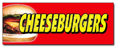 "12"" CHEESEBURGERS DECAL sticker hamburger burger grilled char broiled hot dogs"