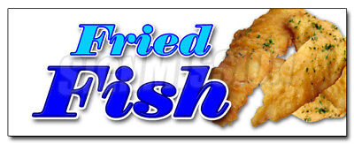 """24"""" FRIED FISH DECAL sticker fry fresh deep seafood retail storefront marketing"""