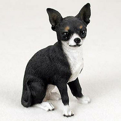 Chihuahua Figurine Hand Painted Collectible Statue Black & White