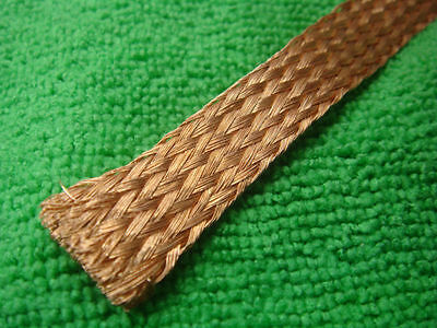 "1mX18mm 0.8"" Copper Braided Shielded Cable Wire Circle Flat Cover Sleeve"