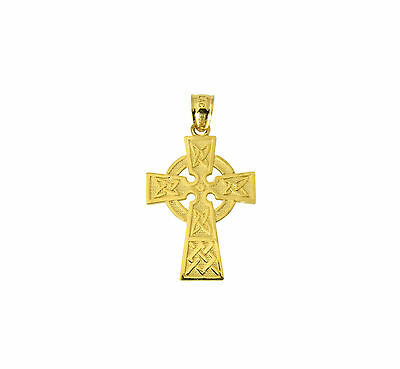 14K Solid Real Authentic Yellow Gold Religious Celtic Cross Charm Pendant