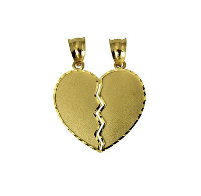 d575eba7b7 14K Yellow Gold Medium Couple Broken Breakable Split Heart Charm Pendant