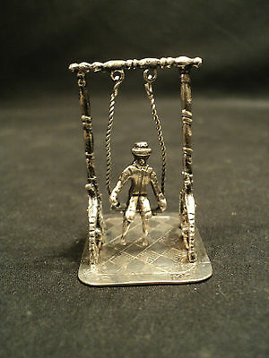 "Wonderful Antique Continental Silver Miniature ""man In Swing"""