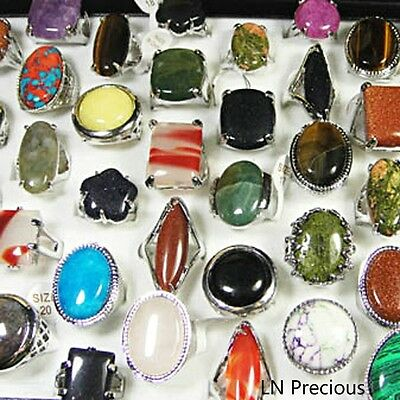 wholesale jewelry lots 10pcs Big Natural stone Rings New free shipping