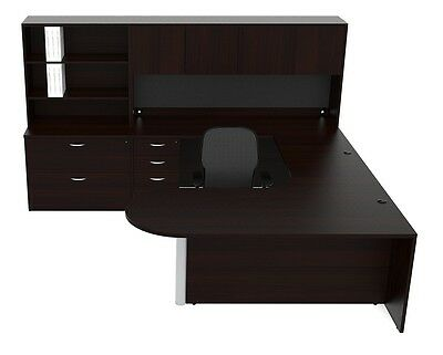 New Amber Bullet U-Shape Executive Office Desk with Hutch & File Cabinet Storage