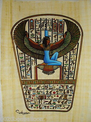 "Ancient Alphabet Goddess Isis  Original Hand Painted Papyrus 8""X12"" (20x30 Cm)"