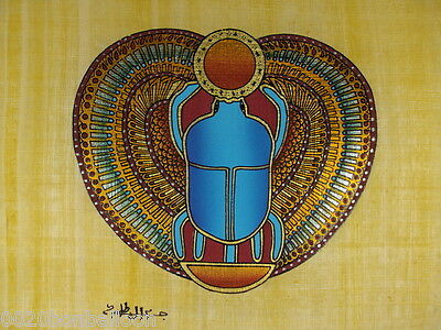 "Egypt Original Hand Painted Papyrus 8""X12"" (20x30 Cm) Scarab Paharaoh Good Luck"