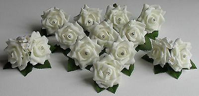 12 Wedding Ivory Rose Flower Crystal Diamante Buttonhole Corsage Roses Package