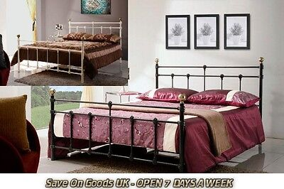 Cream white/black bed frame 3ft/4ft/4ft6 Metal Bedstead,single,small double