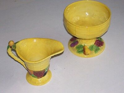 Carlton Ware CREAMER SUGAR BOWL Set Yellow Fruit Wicker Pattern Made in England