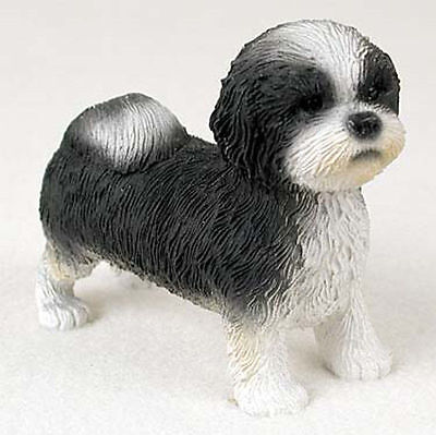Shih Tzu Figurine Hand Painted Collectible Statue Black/White Puppy