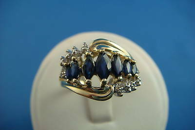 !VINTAGE YELLOW GOLD MARQUISE CUT SAPPHIRES AND ROUND DIAMONDS LADIES RING, SZ 7