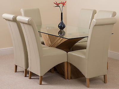 Valencia Small Oak 160cm Modern Glass Dining Table & 6 Ivory Leather Chairs