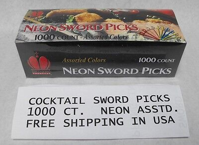 1000ct  PLASTIC SWORD PICKS Toledo Cocktail Olive Pirate Neon Asst. FREE SHIP