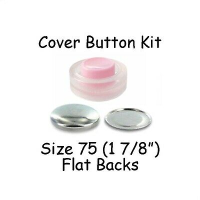 Size 75 (1 7/8 inch) Cover Buttons Starter Kit (makes 4) with Tool - Flat Backs