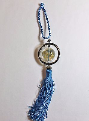 New Islamic Car Hanging Ornament - Clear w/Name of Allah & Mohammad- Light Blue