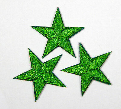 "Green star patches > pack of 3 > embroidered > iron-on > 1"" (25mm) hand finished"