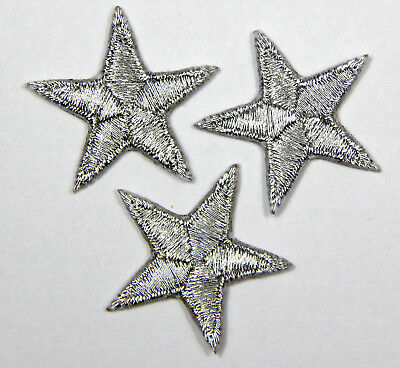 "Silver star patches > pack of 3 > embroidered > iron-on >1"" (25mm) hand finished"