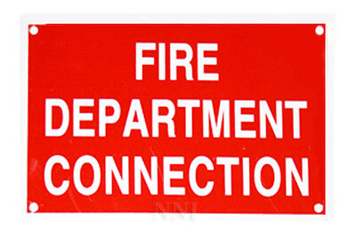 "FIRE DEPARTMENT CONNECTION  6"" x 4"" FDC ALUMINUM SPRINKLER IDENTIFICATION SIGN"