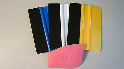 "(3) 4"" Felt Edge Application Squeegee Tools ""FREE SHIPPING"" Vinyl,3M,Wrap,Auto"