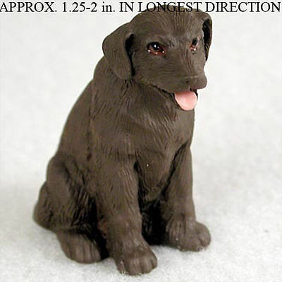 Chocolate Lab Mini Resin Hand Painted Dog Figurine Statue
