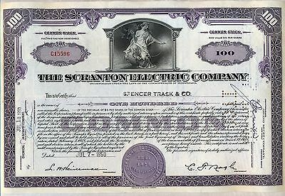 Scranton Electric Company Stock Certificate Pennsylvania Power
