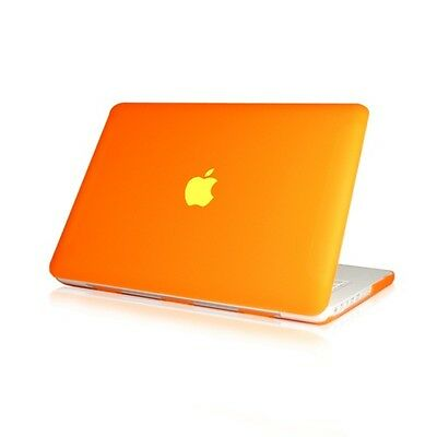 "NEW Rubberized Orange Hard Case Cover for Macbook White 13""  A1342"