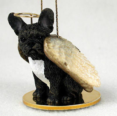 French Bulldog Dog Figurine Ornament Angel Statue Hand Painted