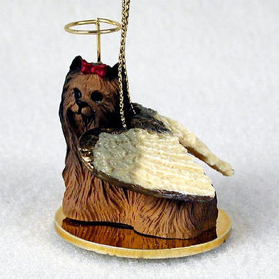Yorkie Dog Figurine Ornament Angel Statue Hand Painted