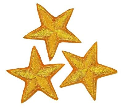 """Yellow star patches > pack of 3 >embroidered >iron-on > 1"""" (25mm) hand finished"""