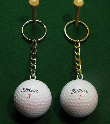 Golf Ball Keychain -Great golf cart spare key accessory- Real Titleist golf ball