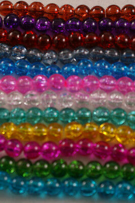 140 Pieces 6mm Crackle Glass Beads Jewellery Craft Making - BUY ONE GET ONE FREE
